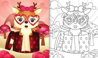 livre de coloriage pour les enfants avec un cerf mignon dans la boîte-cadeau pour la Saint-Valentin vecteur
