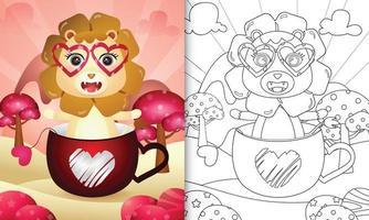 livre de coloriage pour les enfants avec un lion mignon dans la tasse pour la saint valentin vecteur