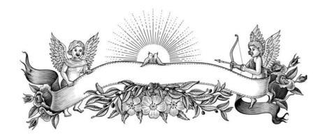 Bannière de la Saint-Valentin et cadre illustration style vintage art noir et blanc isolé sur fond blanc vecteur