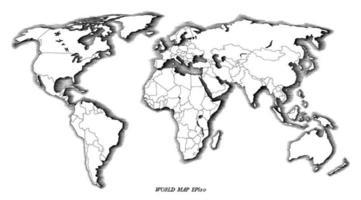 Main de carte du monde dessin art noir et blanc de style vintage isolé sur fond blanc vecteur