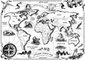 Vintage old world map part dessiner art noir et blanc de style de gravure isolé sur fond blanc vecteur