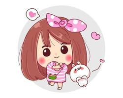 personnage de fille souriante et lapin blanc montrant le symbole de la main de geste d'amour isolé sur fond blanc.