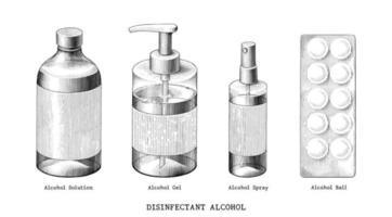 Ensemble d'alcool désinfectant main dessiner art noir et blanc de style vintage isolé sur fond blanc vecteur
