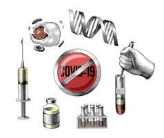 Vaccin de développement Covid-19 part dessiner art de style de gravure isolé sur fond blanc vecteur
