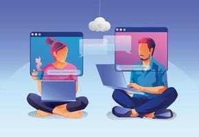 les gens sur l'écran de la fenêtre parlant avec des collègues visioconférence et page d'espace de travail de réunion en ligne, hommes et femmes apprenant. illustration vectorielle, plat vecteur