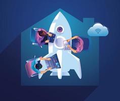 démarrage de l'entreprise, lancement de produit avec concept de fusée. modèle et arrière-plans vector illustration, idée de processus de démarrage de projet d'entreprise par le biais de la planification et de la stratégie, gestion du temps