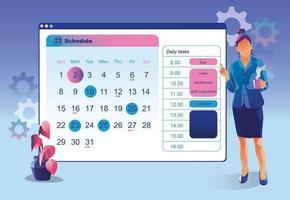 planifier des événements. planification des gens d'affaires, événement, nouvelles, calendrier en ligne de rappel. concept de calendrier, gestion du temps publicitaire. planification des tâches de planification des activités de formation, vecteur d'équilibrage travail-vie personnelle