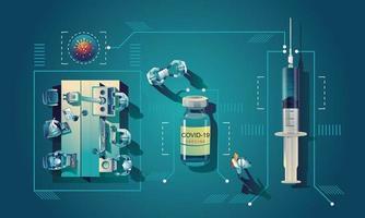 L'équipe médicale et le scientifique ont découvert le vaccin covid-19, un test de laboratoire, une seringue, un flacon de vaccin, travaillant sur le test. développement de vaccins prêt pour l & # 39; illustration de traitement, conception plate de vecteur