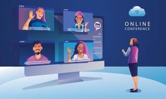 les gens qui travaillent sur l'écran de la fenêtre de parler avec des collègues. vidéoconférence et page d'espace de travail de réunion en ligne, homme et femme apprentissage illustration vectorielle, plat