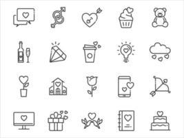 ensemble d'icônes de fine ligne de la Saint-Valentin, amour, romance, coeur