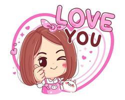 personnage de jolie fille faisant mini symbole de coeur avec signe de doigt isolé sur fond blanc.