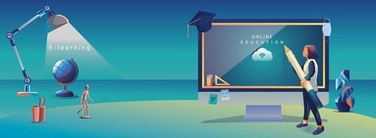 application d'éducation en ligne apprentissage dans le monde entier sur ordinateur, fond de site Web mobile. concept de distance sociale avec livres, conférence, crayon. le cours de formation en classe, illustration vectorielle de bibliothèque plat vecteur