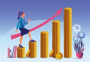 concept de réussite commerciale, femme d'affaires de croissance de l'entreprise gravissant les échelons des pièces d'or à la prochaine étape de la croissance de carrière vecteur