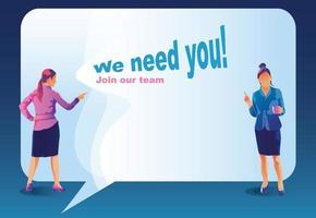 nous recrutons un concept avec d'énormes haut-parleurs et des gens d'affaires. entretien d'agence de recrutement avec des candidats. ressources humaines avec mégaphone. se réunir dans le travail d & # 39; équipe équipe de rêve illustration vectorielle vecteur