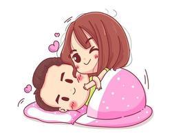 couple de caractère étreignant avec une couverture confortable concept de valentine heureux isolé sur fond blanc. vecteur