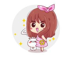 personnage de jolie fille et lapin blanc debout concept de jour heureux isolé sur fond blanc. vecteur