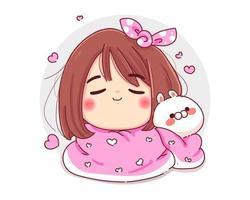 personnage de jolie fille et lapin blanc avec une couverture confortable isolé sur fond blanc. vecteur