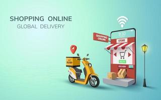 Livraison mondiale gratuite en ligne numérique sur scooter avec téléphone mobile dans le concept de fond de site Web pour l'expédition de nourriture de passagers