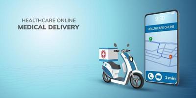 Livraison de médecin de transport de santé en ligne numérique sur scooter avec carte et emplacement broche sur le concept de téléphone mobile pour la santé d'urgence, médical vecteur