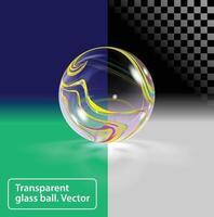 boule de verre avec des rayures colorées abstraites sur différents horizons