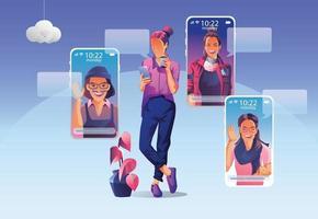 les gens d'affaires utilisent la vidéoconférence. les gens sur l'écran de la fenêtre parlant avec des collègues visioconférence et page d'espace de travail de réunion en ligne, hommes et femmes apprenant. illustration vectorielle, plat vecteur