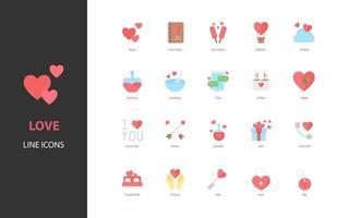 ensemble d'icônes d'amour, valentine, coeur, romance vecteur