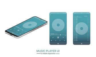 réseau de médias sociaux. interface du lecteur de musique. profil, album, chanson, maquette de playlist. écran de disposition de la musique. illustration vectorielle