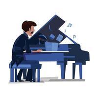 pianiste avec piano vecteur