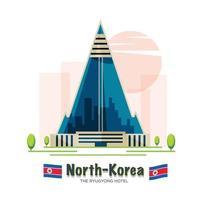 hôtel ryugyong. Pyongyang, Corée du Nord - illustration vectorielle vecteur