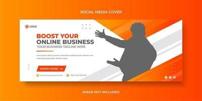 Modèle de bannière ou de couverture de médias sociaux d'entreprise et d'affaires avec la conception de forme abstraite vecteur