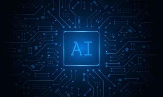 intelligence artificielle, chipset ai sur circuit imprimé, concept technologique futuriste vecteur