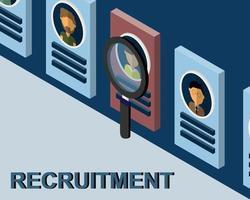 vecteur de signe de recrutement en 3d