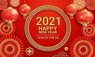 lanternes en papier du nouvel an chinois 2021 et fleur sur fond de carte de voeux l'année du bœuf. illustrations vectorielles.
