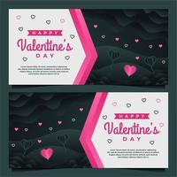 modèle de bannière de bonne Saint-Valentin avec modèle de fond sombre