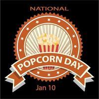 insigne et signe de la journée nationale du pop-corn vecteur