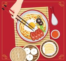 soupe traditionnelle chinoise avec nouilles, soupe de nouilles dans un bol chinois illustration vectorielle de nourriture asiatique vecteur