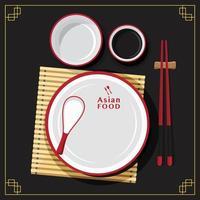 ensemble d'assiettes vides, cuillère à manger, cuisine asiatique, illustration vectorielle vecteur