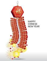 feu cracker nouvel an chinois. illustration vectorielle vecteur