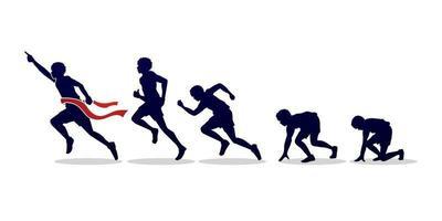 commencer à courir silhouette étape vecteur
