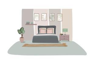 conception de la chambre. vue de face de la chambre à coucher moderne avec des meubles. intérieur de la maison confortable. décoration élégante de l'appartement vecteur