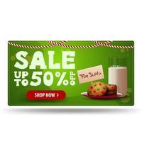 vente de Noël, jusqu'à 50 rabais, bannière de réduction verte avec des biscuits avec un verre de lait pour le père Noël vecteur