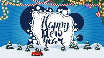bonne année, carte postale bleue avec paysage d'hiver de dessin animé avec voiture vintage rouge portant arbre de Noël