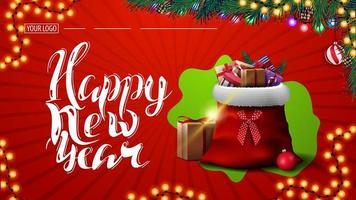 bonne année, carte postale rouge avec guirlande, branches d'arbres de Noël et sac de père Noël avec des cadeaux vecteur