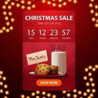 Vente de Noël, bannière de réduction verticale rouge avec compte à rebours jusqu'à la fin des réductions et des biscuits avec un verre de lait pour le père Noël