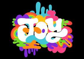 lettrage de joie rétro coloré vecteur
