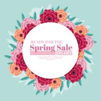 Couronne de vente de printemps de vecteur