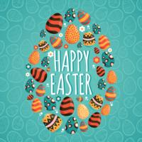 Joyeuses Pâques Memphis Illustration