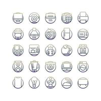 jeu d'icônes de gradient d'appareils électriques. vecteur et illustration.