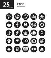 jeu d'icônes solides de plage. vecteur et illustration.
