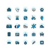 ensemble d'icônes de contour rempli d'hôpital. vecteur et illustration.